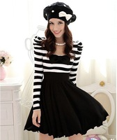 free shipping Sexy party dance clothes ladies Black and white stripes dress women's fashion dress