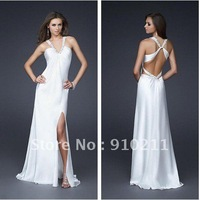 Popular A Line Long V-Neck Poly Satin White Wide Beaded Straps Prom Dresses