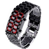 EMS,50pcs/lot,Lava Style Iron Samurai Watch LED Watch/Wristwatch Black with Red Led Light for Man,LED Sports Watches,Wholesale