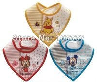 15pcs/lot cartoon baby bib cotton infant triangle bib kid apron 3 colors free shipping