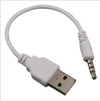 3.5mm JACK MALE TO 2.0 A MALE USB DATA SYNC CHARGING CHARGE CABLE ADAPTER for IPOD SHUFFLE 2ND GEN