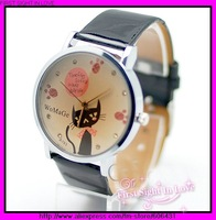 ladies elegance quartz watches, lovely cat diamond leather watches,free shipping 10pcs/lot