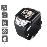 free shipping Watch Cell Phone (QuadBand, MP3 Mp4 Player, Waterproof)    black