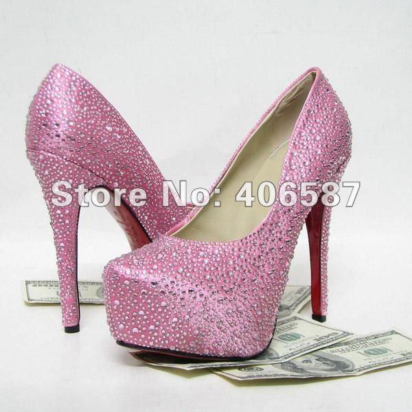 2012 New red high heels pink diamond shoes diamond wedding shoes