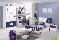 4 Pcs New Full Size Bedroom Set MDF Panels Children Furniture L Bookcase
