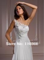 Ivory Chiffon One-shoulder Sweetheart Neckline Sleeveless Bridal Wedding Dresses,Wedding Bridal Dresses-Ryshia