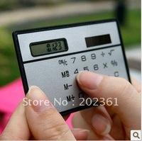free shipping 1000pcs/lots New Mini Slim Credit Card Solar Power Pocket Calculator