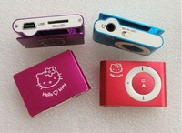 Hello Kitty style Card Reader MP3 Player Clip MP3 Player 8 Colors 50pcs lot  1-8GB TF