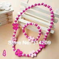 "Free Shipping, Wholesale Lot 20 pcs, Children's Cute Wood 15.7""(40cm) Necklace & 5.5""(14cm) Bracelet Set/Kids Gift- No.4"