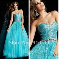 Appealing  2012 Style Fashionable Long Strapless Sequin Embellished Strapless Prom Dress