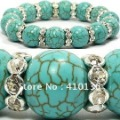 SBR240 Classic Turquoise Bracelet 10mm Round Beads with 8mm Clear Rhinestone Whell for Birthday Gift Free Shipping