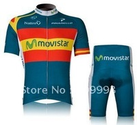 2012 Movistar Fast Shipping High Quality Best Selling Cycling Jersey(MAILLOT)+Short (CULOT)/Bicycle Wear/Bike Clothes/One SET