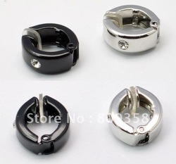 Wholesale Free Shipping Fashion Jewelry 2 ColorStainless Titanium Steel Silver Circle Zircon No Piercing Men's Clip Earring 4040(China (Mainland))