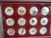 Collection Chinese government-issued(2011)  zodiac color silver commemorative coins