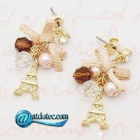 Min Order 12$ Fashion Eiffel Tower Drop Earrings Hoop with Pearl Charms Crystal  Earring ES0016