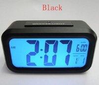 NEW Blue light Big Screen LCD Alarm desk clock black