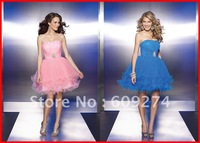 No Risk 2012 Custom Strapless Backless Organza Bead Mini A line Pink Homecoming Dresses Gowns Prom Party Dress