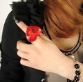 (red,black)Free shipping !Fashion Jewelry Restore Pop Exaggerated Heart Big Gem Ring