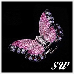 Sniwell K Gold Plate Super Fashion Pink Butterfly Rhinestone Hair Claw Women Hair Accessory Hair Jewelry Hairwear J1221197(China (Mainland))