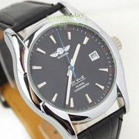 Military Black Chronometer Date Automatic Mens Watch Selfwind Leather US iw580
