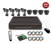 Freeshipping, 8CH H.264 Security CCTV 600TVL Night Vision IR Camera Standalone 1TGB Seagate HDD DVR System