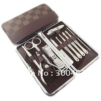 11pcs nice metal Box Birthday Gift Set smile face Manicure tool Nail Clipper set Free Shipping