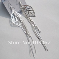 leaves rhinestone earring 12pcs/lot  long style 2012 new design