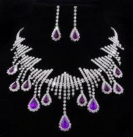 Purple Drop Rhinestone Acryl Crystal Bridal Necklace Dangle Earrings 1set