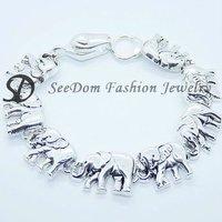 FREE SHIPPING Tibetan Silver Elephant Charms Bracelet + GIFT BAG DB017