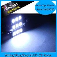36mm 9LEDs SMD5050 Dual tip car sun visor lights, LED festoon lamp , 12V DC W/B/R, Free Shipping !