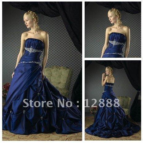 Free Shipping Ball Gown Royal Blue Taffeta Hot Wedding Dress Bridal Gown
