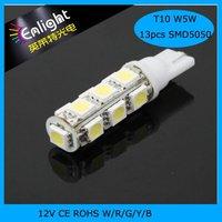 Car Side Light Bulbs 13LEDS T10 W5W SMD5050 12V DC W/R/G/B