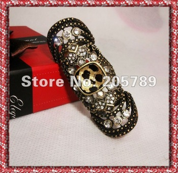 New arrival Vintage Armor Knuckle Hinged rings leopard top rhinestone double ring,unisex  1piece/lot  Free shipping