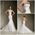 Top Quality 2012  Strapless Good-Look Sheath Ruffle Beaded Taffeta Designer Sexy Wedding Dresses