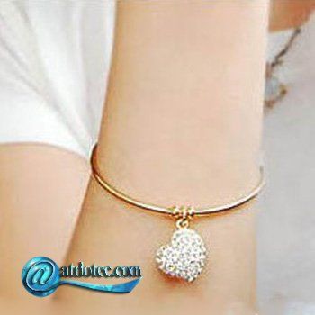 Min Order 12$ Fashion Jewelry Women Love Heart Design Hollow Bracelet & Crystal Chain Inlay with Rhinestone SL0048