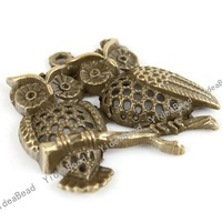 Wholesale - 15pcs Hot Double OWL Antique Bronze Tone Charms Loop pendants Beads Animal Jewerly Findings 140798