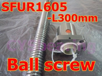 Rolled type ball screw SFU1605 L 300mm +one single nut, 4 circuits Screw pitch / lead 5mm ballscrews, ballnut  for CNC router