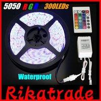 DHL free shipping Wholesale 20 set/lot 5050 RGB 5m 60leds/m waterproof LED Strip Light+24 key controller