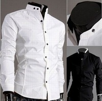 Free Shipping  New Men's Shirts Mens Casual Slim Fit Stylish Dress Shirts Men's Clothing ColorBlack,Gray Size:M-XXL