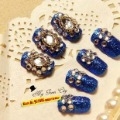 Free shipping+Navy blue diamond nail,Three-dimensional decorative fake nails,glued artificial nail,SO beauty best for lady