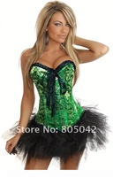 Fashion Sexy green Corset  bustier  women's underwear body shaper slimming Sexy Lingerie 1set
