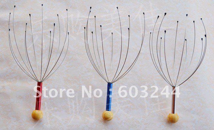 Free EMS 200 Set Scalp Neck Massager Stress Relax Equipment stainless steel manual vibrating scalp handy head massager NO BOX A3(China (Mainland))