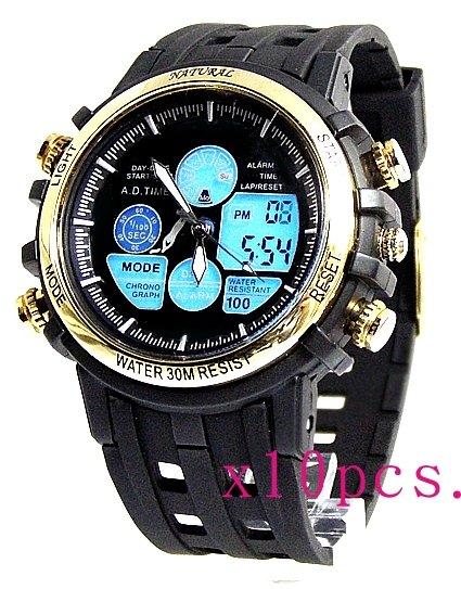 Free shipping wholesale 10pcs Back Light Water Resist Black Band Boy Sport Alarm Gold Tone Bezel Anadigit Watch AW355A(China (Mainland))
