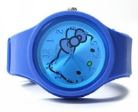 105pcs/lot Free Shipping Hot sale Hello Kitty candy ODM watch Lovely Round jelly watch Girl's watch with cat head picture