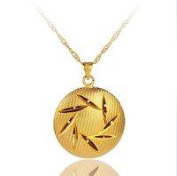 24 karat gold filled round necklace pendant 2-year Guarantee 22C075