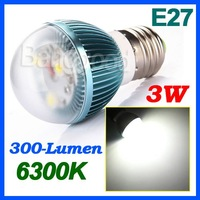 E27 3W 3-LED White light Lamp Bulb 300-Lumen 6300K AC 85~265V Energy Saving