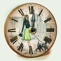 Wooden clock/Water transfer/Various desgins clock/desk clock/art crafting clock