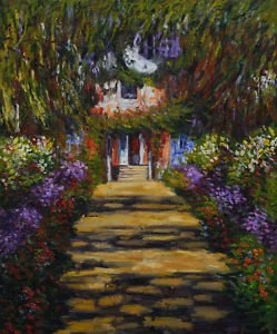 """Claude Monet-Garden Path at Giverny Hand Painted Oil Painting Wall Art 20x24"""""""