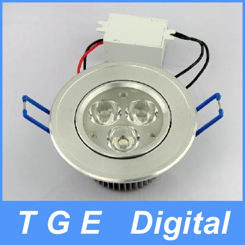 Free Shipping! 3 LED High Power Ceiling Light Down Recessed Lamp White 85~265V 3W Cabinet(China (Mainland))