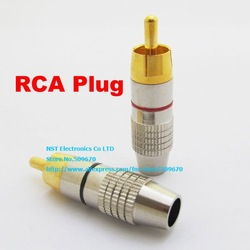 Free shipping/50pcs (25pairs) RCA Plug Audio Video Locking Cable Connector(China (Mainland))